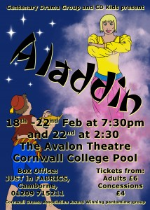 Poster for the Drama Group Pantomime 2014 Aladdin